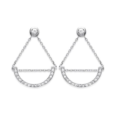 Paire de boucles pendantes demi lune en Argent 925 /1000