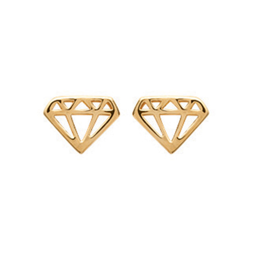 Paire de boucles à vis diamant ajourée  en Plaqué Or