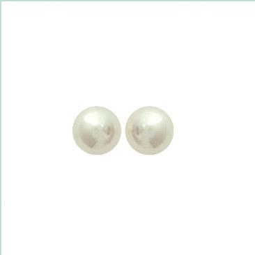 Paire de boucles à vis perles synthétiques  en Plaqué Or
