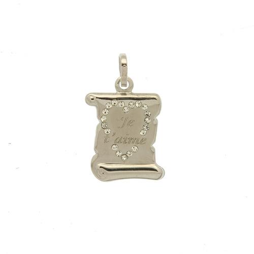 Plaque parchemin avec coeur en zircon  en Or 750 / 1000 (18K)