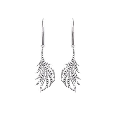 Paire de boucles pendantes plume en Argent 925 /1000