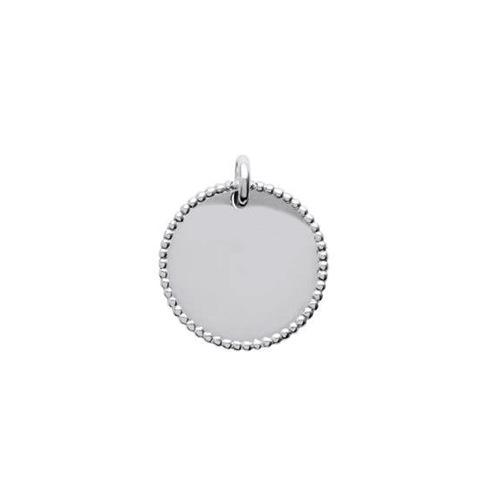 Plaque ronde milgrain  en Argent 925 /1000