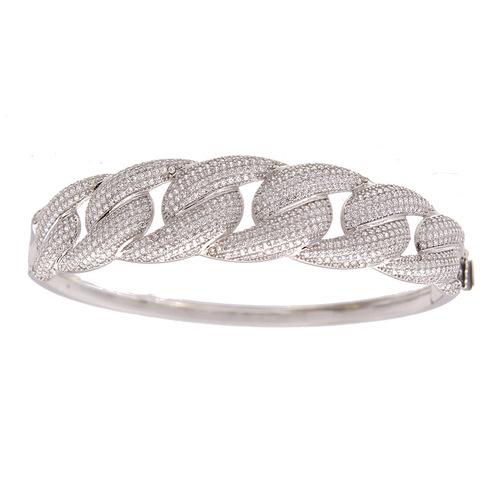Bracelet Rigide pavage maille gourmette en Or 750 / 1000 (18K)