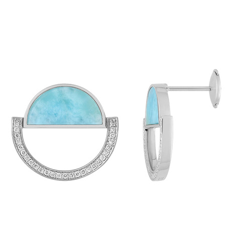 Paire de boucles dormeuses Larimar bleu et diamants 0.22ct en Or 750 / 1000 (18K)