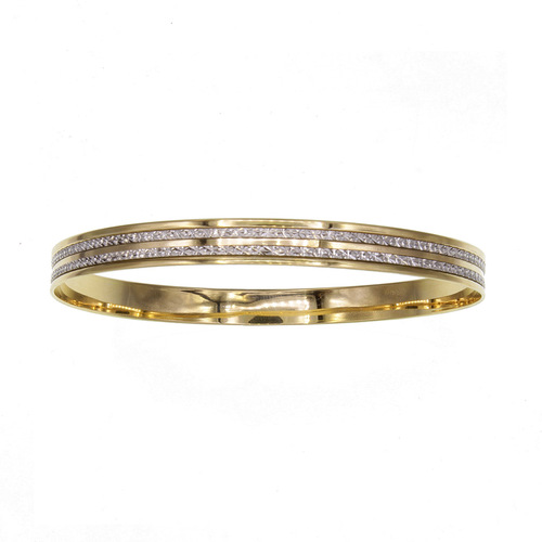 Bracelet Rigide cisele 2 rangs bicolor en Or 750 / 1000 (18K)