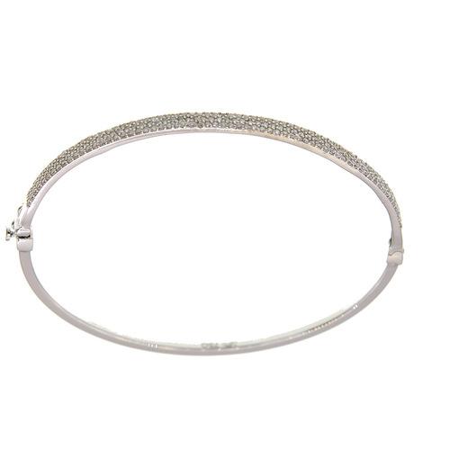 Bracelet Rigide jonc serti grain en Or 750 / 1000 (18K)