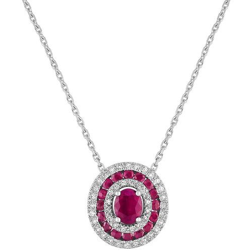 Collier motifRas du Cou entourage rubis 0.84Cts et diamants 0.13Cts en Or 750 / 1000 (18K)