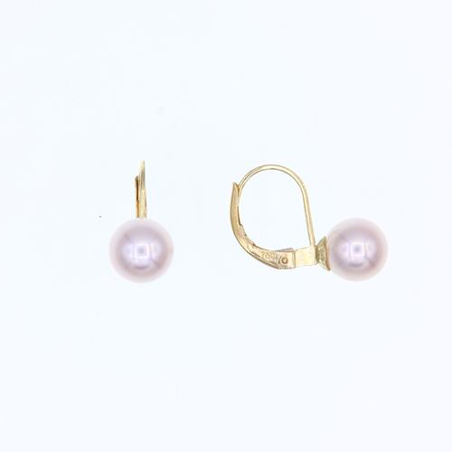 Paire de boucles dormeuses Perles d'eau douce 5 - 5.5mm  en Or 750 / 1000 (18K)