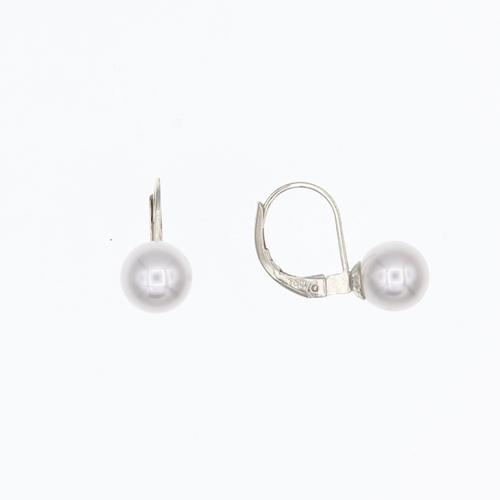Paire de boucles dormeuses Perles eau douce 6.5 - 7mm en Or 750 / 1000 (18K)