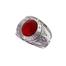 Chevalière universitaire pierre rouge  en Argent 925 /1000