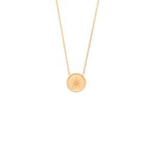 Collier motifRas du Cou plaque ronde soleil  en Plaqué Or