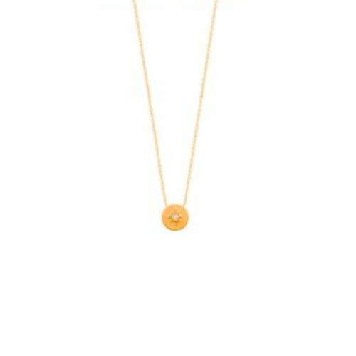 Collier motifRas du Cou plaqhue ronde soleil  en Plaqué Or