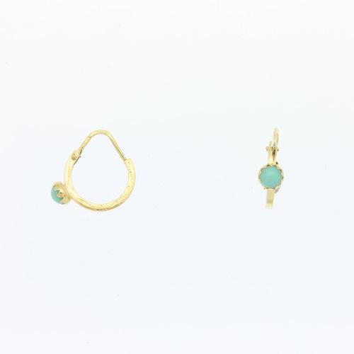 Paire de créoles prierre turquoise  en Or 750 / 1000 (18K)